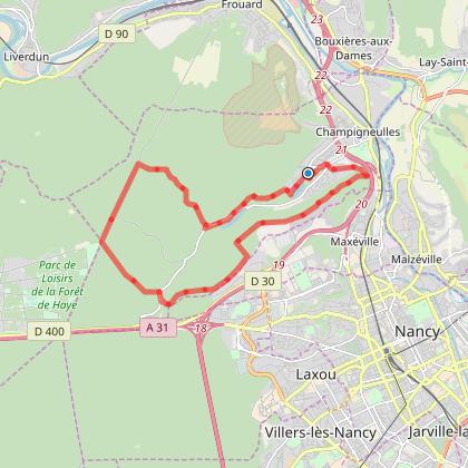 Grande boucle VTT autour de l'étang de Bellefontaine via la montée du plateau de Maxéville et de Champigneulles