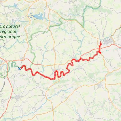 Rando-Vélo sur le canal de Nantes à Brest : 60 km départ Pont-Coblanc,  arrivée Camping de la vallée d'Hyères (Carhaix)