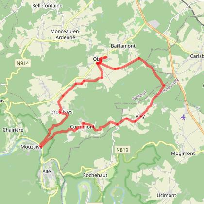 IC: Circuit de 22km (forêt) départ/arrivée de l'Instant Ch'Oizy