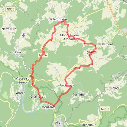 IC: Circuit de 25km (campagne vers Vresse) départ/arrivée de l'Instant Ch'Oizy