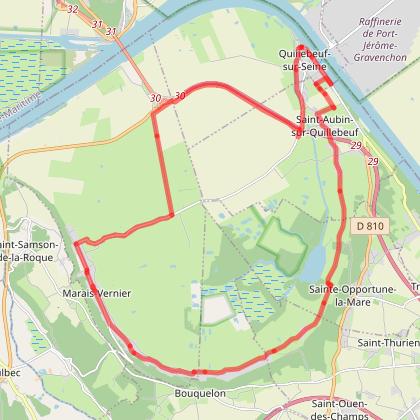 boucle cyclotouristique Marais Vernier quillebeuf sur Seine