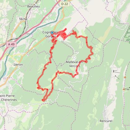 Circuit autour du cirque  de Malleval en Vercors en partant de Cognin les Gorges
