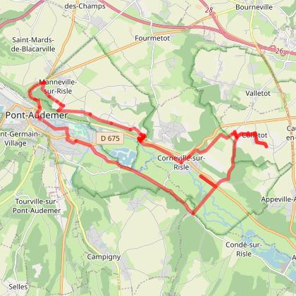 Circuit Cylotouristique autour de Pont Audemer 27500 - boucle rose