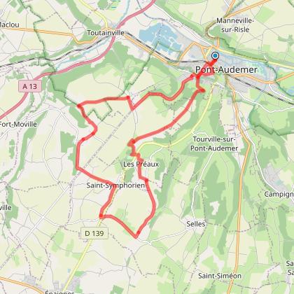Circuit Cyclotouristique autour de Pont Audemer 27500 - boucle violette