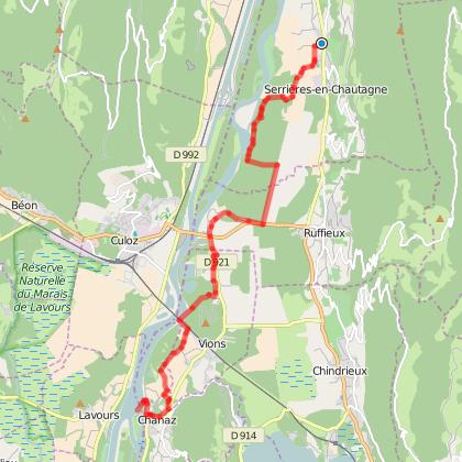 Itinéraire de la ViaRhôna en Chautagne