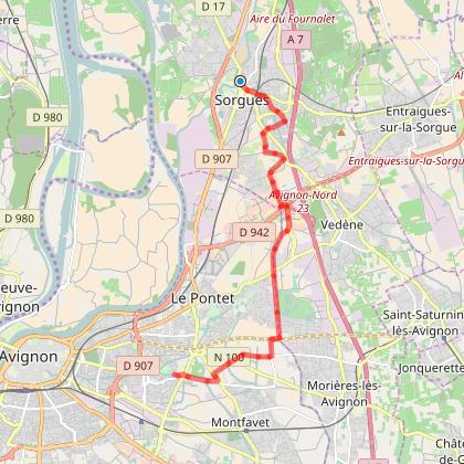 De Sorgues à Avignon vers chemin des canaux
