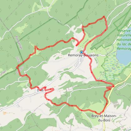 Doubs VTT ' - Le belvédère des 2 lacs - Remoray-Boujeons - n°7 rouge