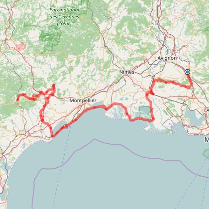 Traversée des Alpilles et de la Camargue de Cavaillon à Bédarieux
