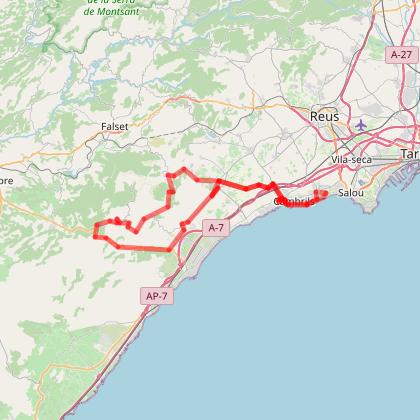 Cambrils: 1- La Serra de Llaberia (85 km, D+ 1074 m)
