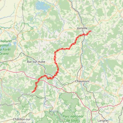 GR703 Sentier historique de Jeanne d'Arc De Poissons (Haute-Marne) à Cunfin (Aube)