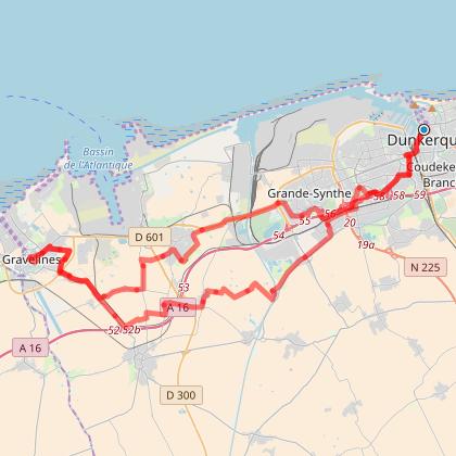Circuit vélo Dunkerque-Gravelines