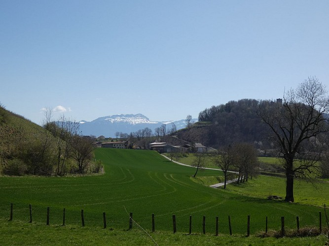 Vue sur les montagnes et la Tour de Clermont après la Grange de Louisias