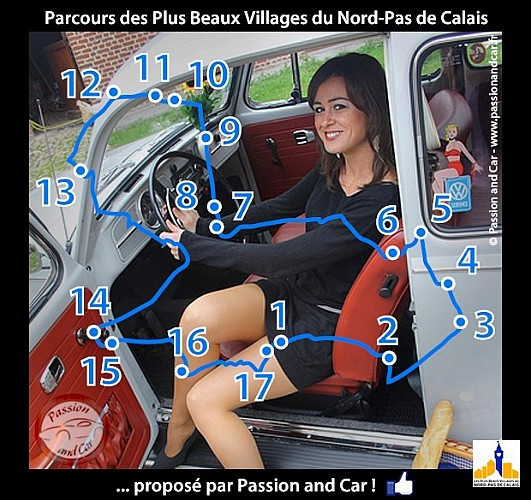 parcours voiture d couverte des plus beaux villages du nord pas de calais au d part d. Black Bedroom Furniture Sets. Home Design Ideas