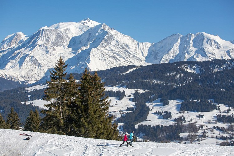 Snowshoes itinerary: Connection between Combloux/Cordon