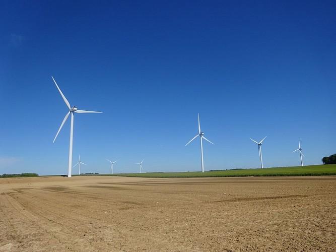 MONTMIRAIL Le plateau, les éoliennes.