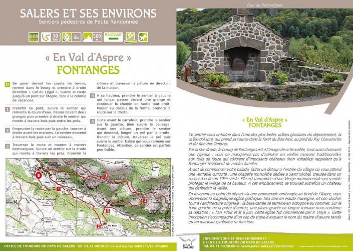Randonnée pédestre Val d'Aspre, Fontanges