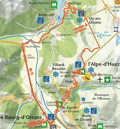 Plan de l'itinéraire Bourg d'Oisans Oz en Oisans Alpe d'Huez