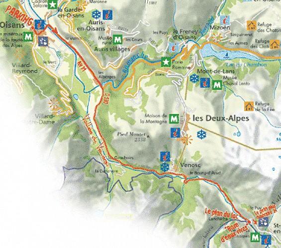 plan de l'itinéraire Bourg d'Oisans le plan du lac par Venosc