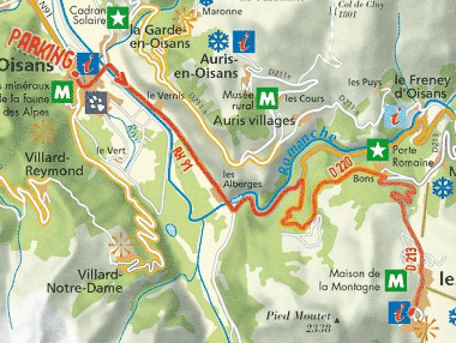 Plan de l'itinéraire Bourg d'Oisans Les 2 Alpes par Bons