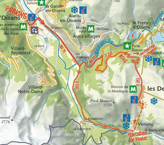 Plan de l'itinéraire de la montée des Deux Alpes par télécabine de Venosc