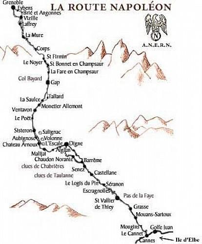 Ancienne carte de la route Napoléon