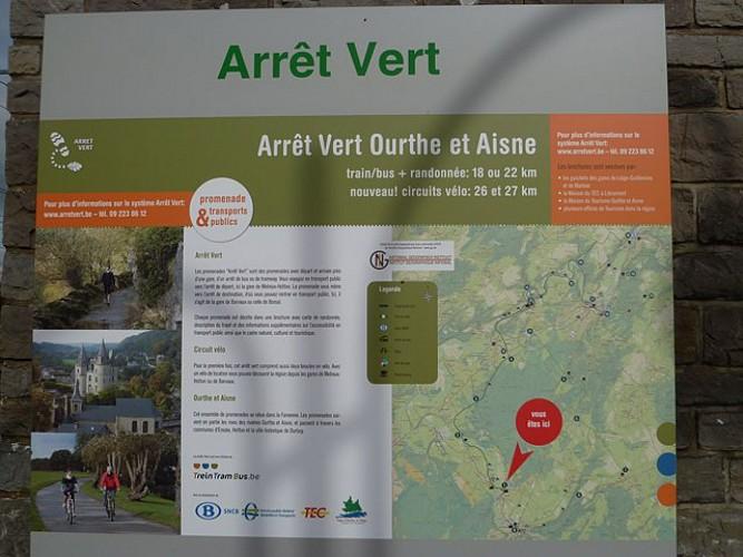 Arret Vert - A pied - Gare de Melreux - Gare de Bomal s/o