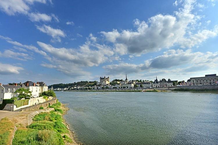 Vue de Saumur de la rive droite de la Loire