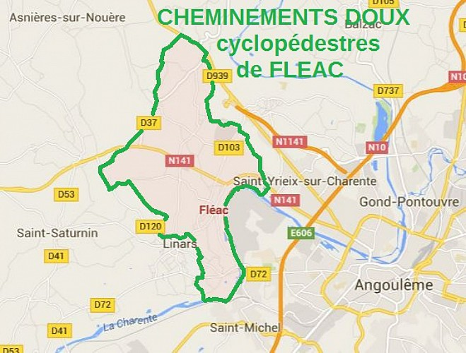CHEMINEMENT DOUX  entre  FLEAC et la coulée verte  en bords de CHARENTE