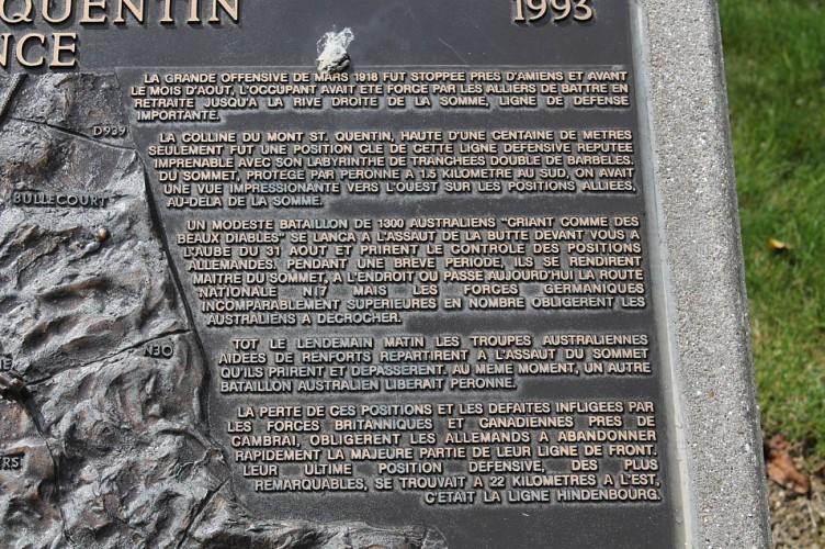 Monument 2e Division australienne Mont-Saint-Quentin