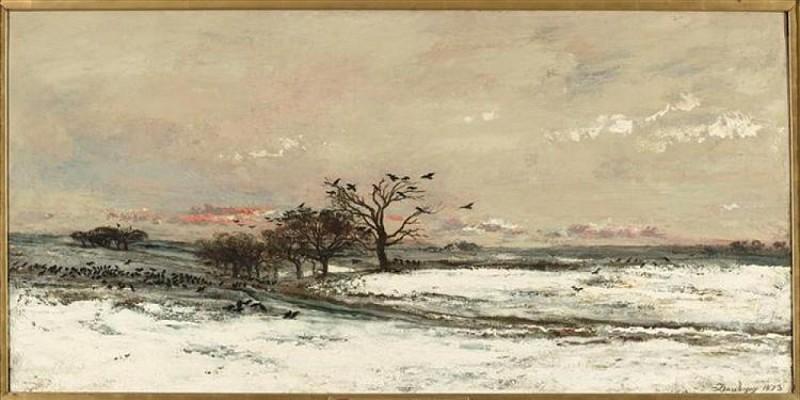 Charles Daubigny - Buste et paysage de neige