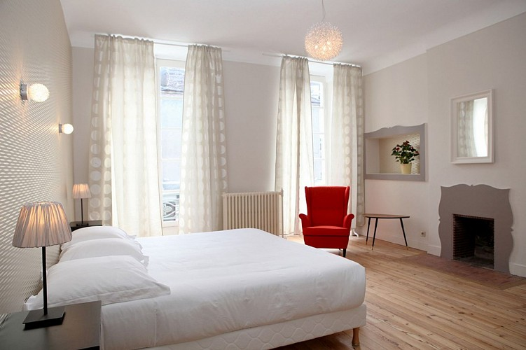 Hôtel Roncevaux - Pau - Chambre double cheminée fauteuil rouge
