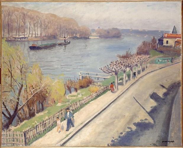 Albert MARQUET La route à La Frette sur Seine - 1945 - Huile sur toile 65x81 cm - MUSBA Bordeaux