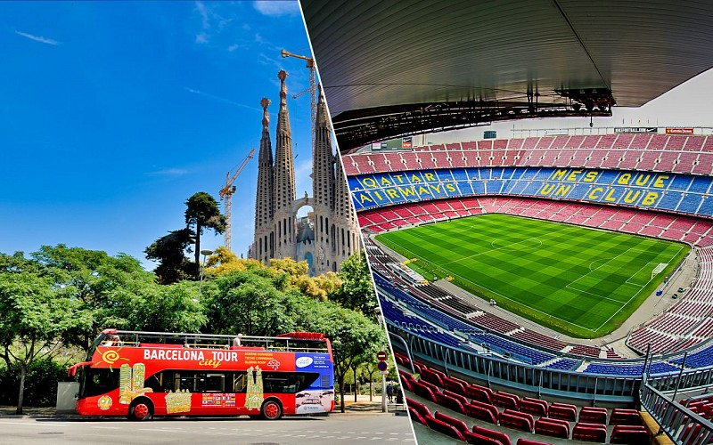Barcelona City Tour : Hop-On-Hop-Off Tour + Camp Nou Tickets