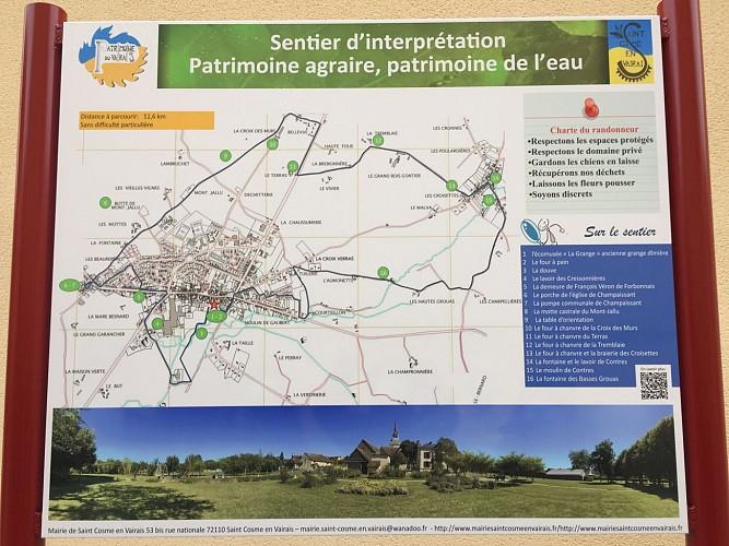 Panneau d'information sentier agraire et eau