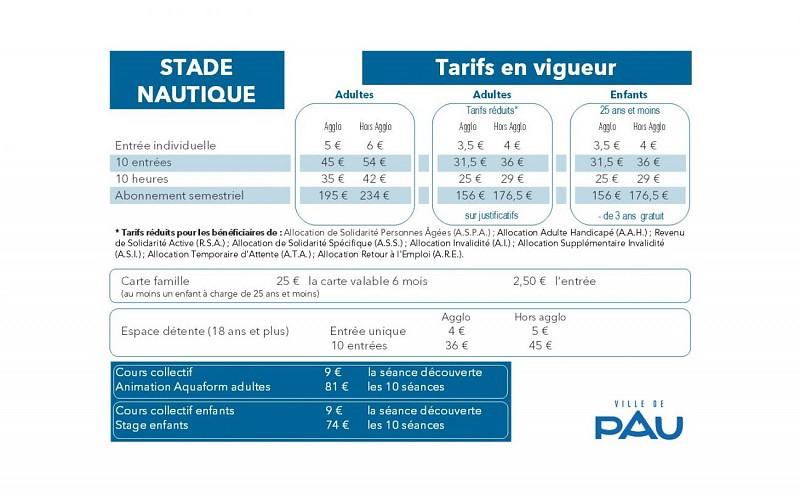 Stade Nautique - Pau - Tarifs