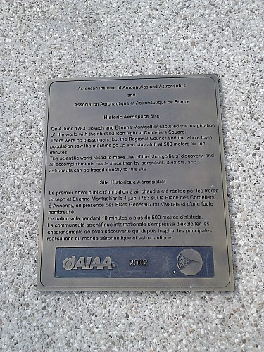 Commemorative plaque of the 1st hot-air balloon flight