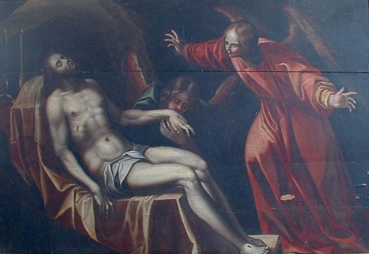 Le Christ veillé par deux anges