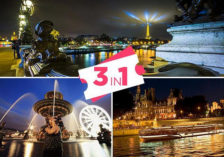 3-in-One Evening Tour : Bus Tour, Seine River Cruise and Visit to the Eiffel Tower with Priority Access