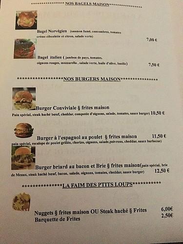 Carte Burgers La Conviviale à emporter