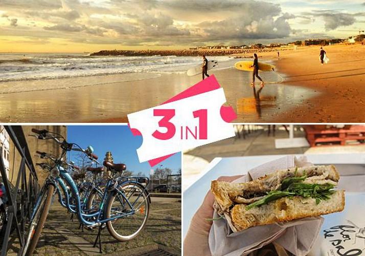 Combo Tour: Bike Rental, Surf Session and Portuguese Snacks – Porto
