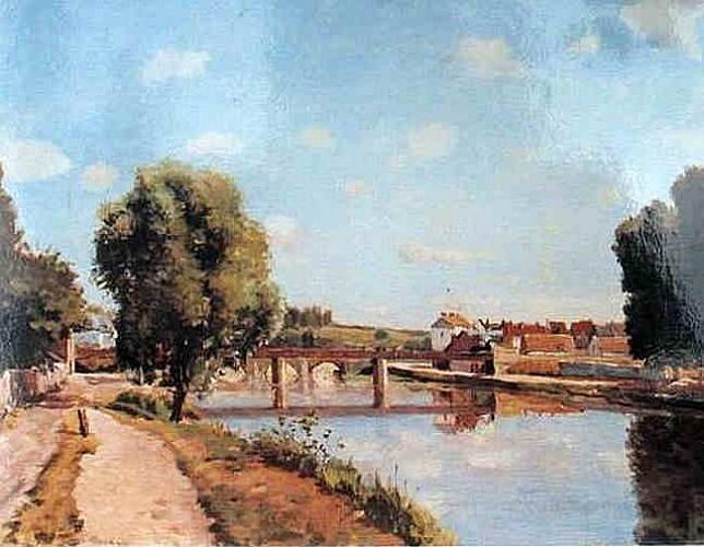 Le pont de chemin de fer, Pontoise -  vers1873