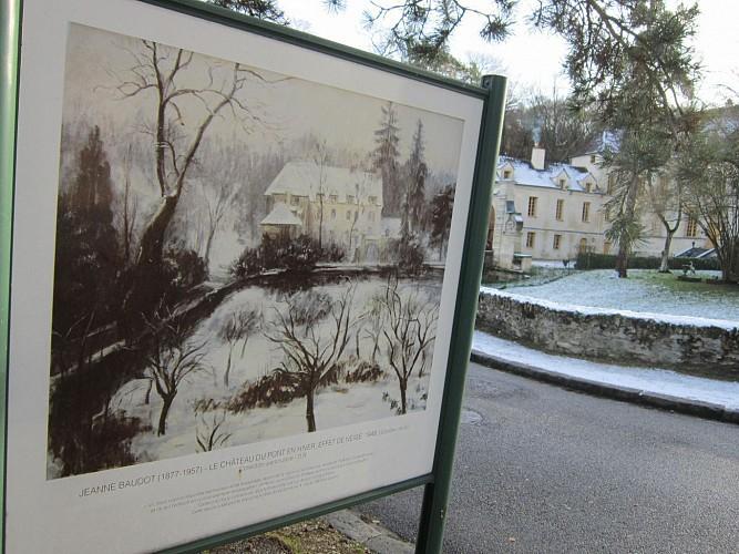 Le château du Pont en hiver, effet de neige - Jeanne Baudot - 1948 - Collection particulière