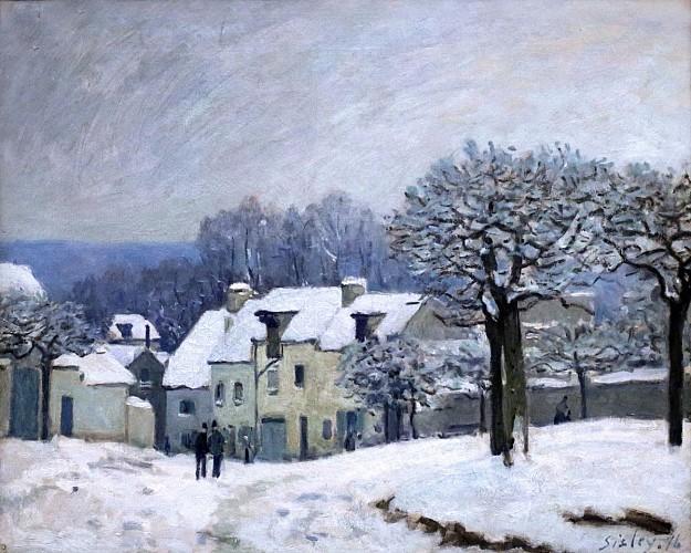 Place du Chenil in Marly, effect of snow - Alfred Sisley -1876 - Musée des Beaux-Arts de Rouen.