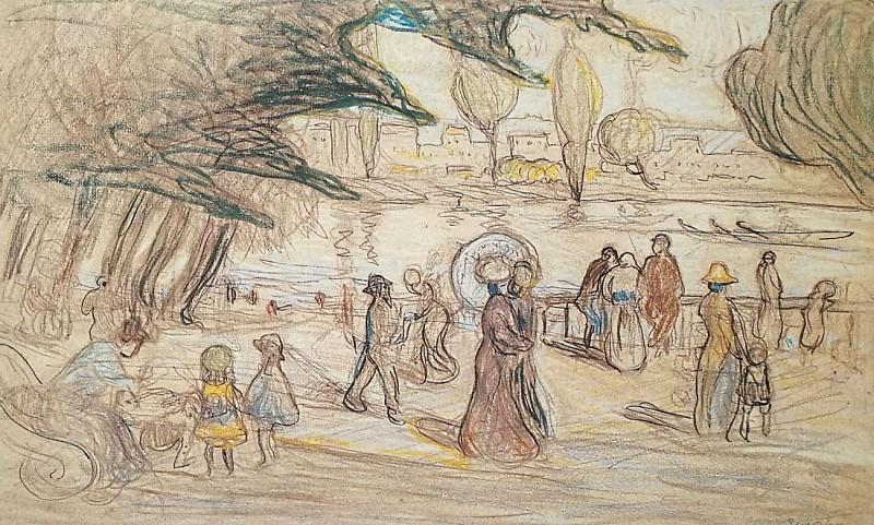 L'île de la Grande Jatte ou Bord de Parc avec rivière animée de canots - Albert Gleizes - 1909