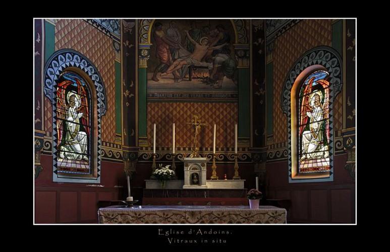 Andoins, église Saint Laurent, choeur et vitraux de Mauméjean