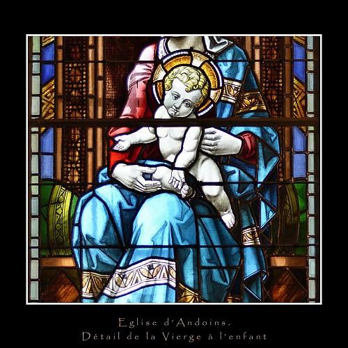 Andoins, église Saint Laurent, détail de la Vierge à l'enfant de Mauméjean