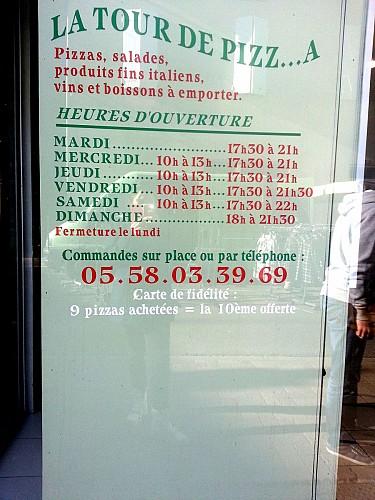 Restaurant -Villeneuve de Marsan - Pizzeria - La tour de pizza - Panneau ouverture