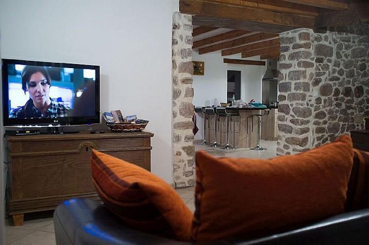 Maison Cedarry coin salon tv - Bidarray