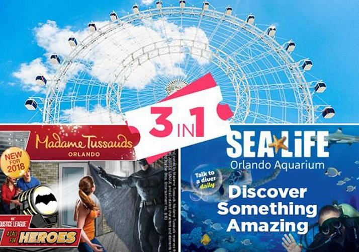 Billet coupe-file 3 en 1 : Madame Tussauds, aquarium SeaLife et grande roue ICON - Orlando