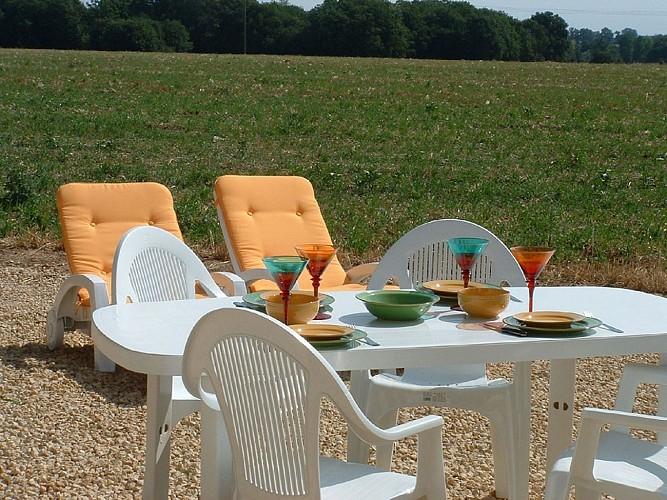 Jardin meublé de Tourisme Gîte du Champ fleury croisé glénay Thouarsais